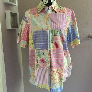 LAUREN RALPH LAUREN Floral Stripe Patchwork Shirt